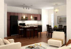 Spring at Tech Ridge Apartments kitchen and living areas