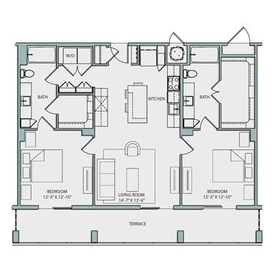 19th Floor B1.1 Floor Plan 2 Bedroom 2 Bath 1155 sq. ft. 3605-3805