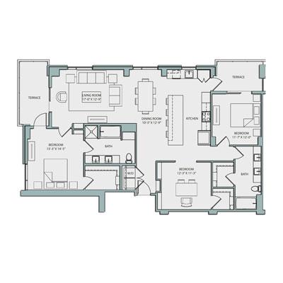 19th Floor C1 Floor Plan 3 Bed 2 Bath 1607 sq. ft. $4930-5065