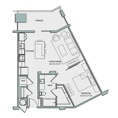 A1 1 Bedroom 1 Bath 724 sq. ft. $1930-1950