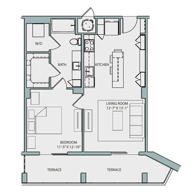 A2.1 1 Bedroom 1 Bath 763 Sq. Ft. $2340-2460