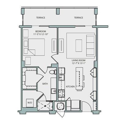 A2.1-S 1 Bedroom 1 Bath 763 Sq Ft $2290