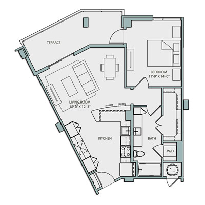 A3 Floor Plan 1 Bedroom 1 Bath 797 Sq Ft $2387-2432