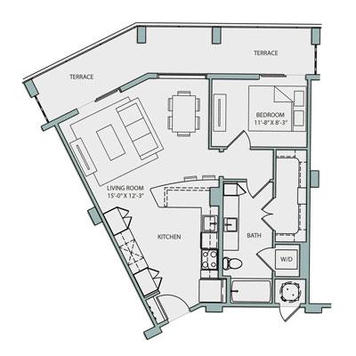 A3.1 Floor Plan 1 Bedroom 1 Bath 787 Sq Ft $2485-2660