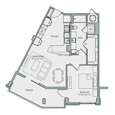 A3A Floor Plan 1 Bedroom 1 Bath 791 Sq Ft $2355-2375