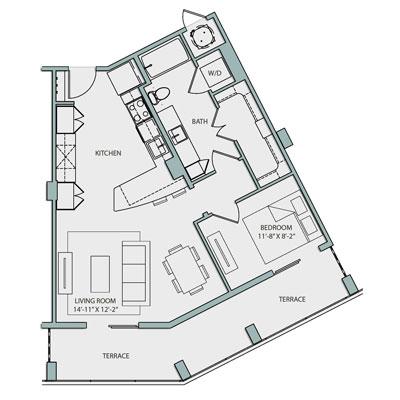A3A.1 Floor Plan 1 Bedroom 1 Bath 791 Sq Ft $2645