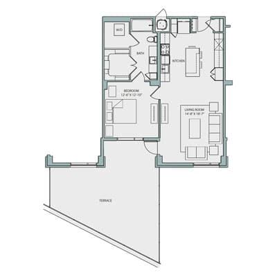 A4A Floor Plan 1 Bedroom 1 Bath 844 Sq Ft $2535