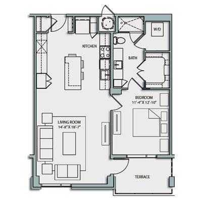 A4S Floor Plan 1 Bedroom 1 Bath 844 Sq Ft $2530-2605