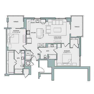 Catherine High Rise B2A Floor Plan  2 Bed 2 Bath 1157 Sq Ft $3790-3810