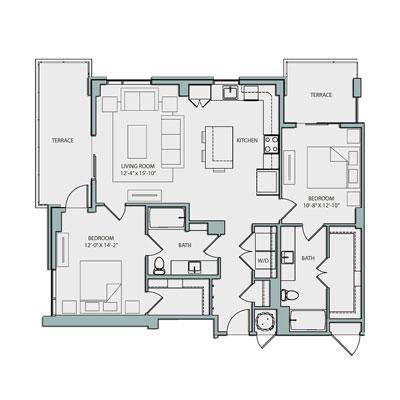 the catherine 19th floor b2 floor plan 2 bed 2 bath 1215 sq. ft. $3920-3995